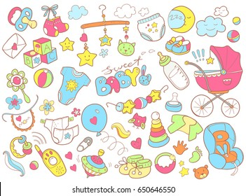 Newborn infant themed cute doodle set. Baby care, feeding, clothing, toys, health care stuff, safety, accessories. Vector drawings isolated.