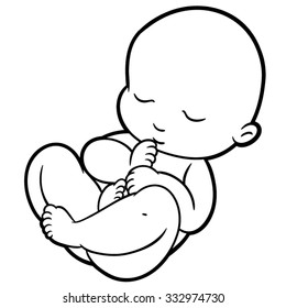 newborn little baby smiling with small arms and legs stylized simplified form suitable for icons and logos