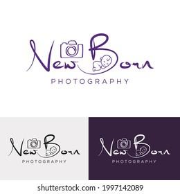 Newborn Photography studio logo template, camera with baby initial NEWBORN photography signature logo template