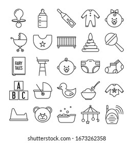 Newborn related icon set vector isolated. Symbols in line style. Toy, bed and baby signs. Cute pictogram collection.