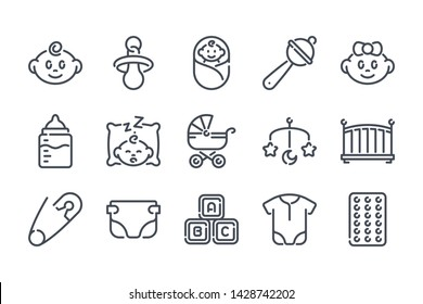 Newborn related line icon set. Maternity and childhood linear icons. Baby outline vector signs and symbols collection.