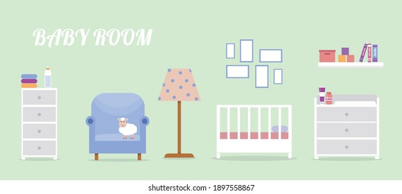 Newborn room interior. Children's room for a boy or girl. Newborn baby room elements set. Cute vector illustration in flat style.