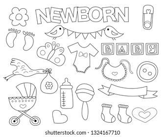 newborn set icons objects hand 260nw