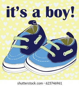 Newborn shoes for boy. It's a boy! Vector illustration on blue hearts on yellow pattern background
