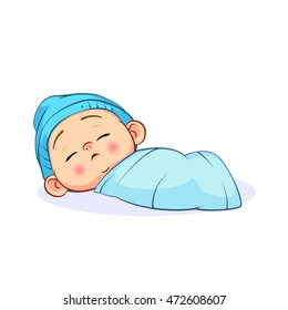 Newborn sleeping baby boy in a blue cap, wrapped in a blanket. Colorful vector illustration isolated on white background.