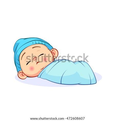 6499f7c72 Newborn Sleeping Baby Boy Blue Cap Stock Vector (Royalty Free ...