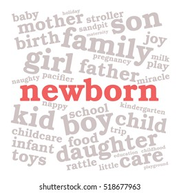 Newborn. Word cloud, red font, white background. Family concept.