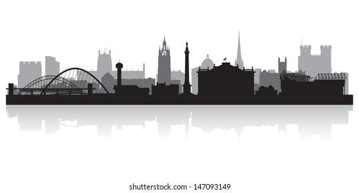 Newcastle city skyline silhouette vector illustration