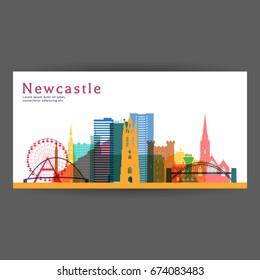 Newcastle colorful architecture vector illustration, skyline city silhouette, skyscraper, flat design.