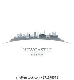 Newcastle England city skyline silhouette. Vector illustration