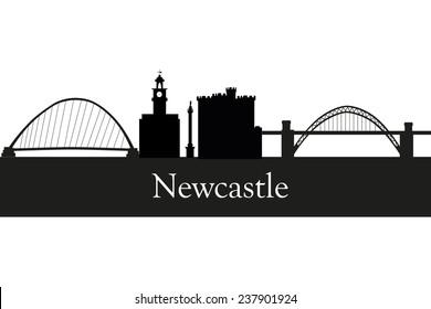 Newcastle in England city skyline silhouette vector illustration