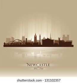 Newcastle England skyline city silhouette