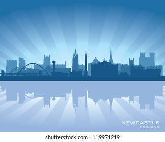 Newcastle, England skyline with reflection in water