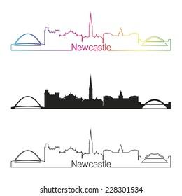 Newcastle skyline linear style with rainbow in editable vector file