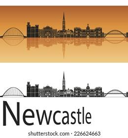 Newcastle skyline in orange background in editable vector file