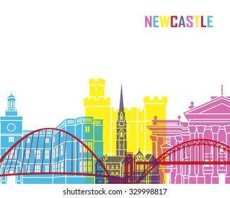 Newcastle skyline pop in editable vector file