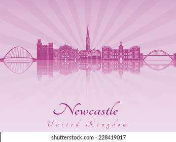Newcastle skyline in purple radiant orchid in editable vector file