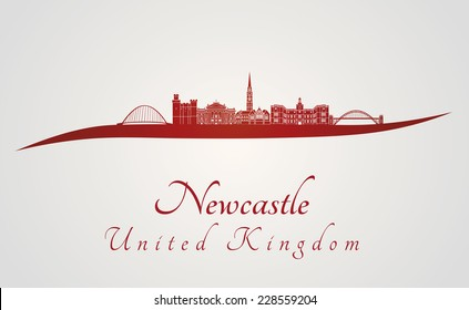 Newcastle skyline in red and gray background in editable vector file