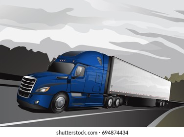 Newer Model Blue Semi with Trailer