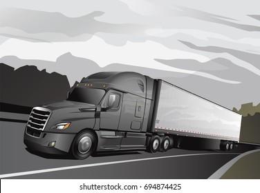 Newer Model Grey Semi with Trailer