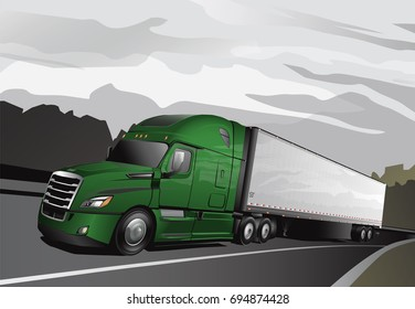 Newer Model Lime Green Semi with Trailer