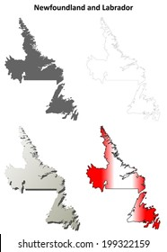 Newfoundland and Labrador blank outline map set - vector version
