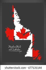 Newfoundland and Labrador Canada map with Canadian national flag illustration