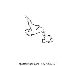 Newfoundland outline map Canda province North America region