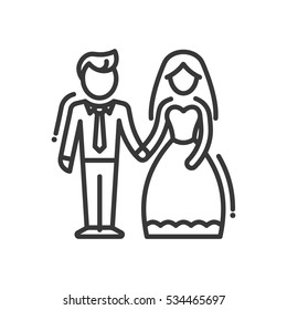 Newly married couple - vector line design single isolated icon, pictogram. Groom and bride standing together