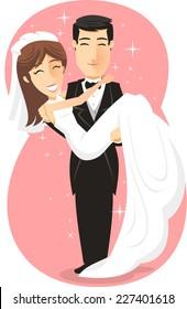 Newlywed Bride & Groom, Just Married Couple vector illustration cartoon.