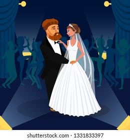 Newlywed Couple, Just Married Together Drawing. Groom and Bride Hugging, Dancing Flat Illustration. Wife and Husband at Wedding Party Cartoon Characters. Guests on Dancefloor Celebrating Engagement