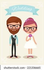 Newlyweds bride and groom in wedding dress hipsters/Bride and groom hipsters/Illustration of bride and groom hipsters in full length