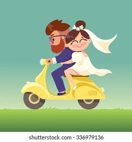 The newlyweds go on a moped.Happy married couple.Vector modern flat character Valentine's day design item man and woman riding scooter together.Romantic happy young lovers dating.