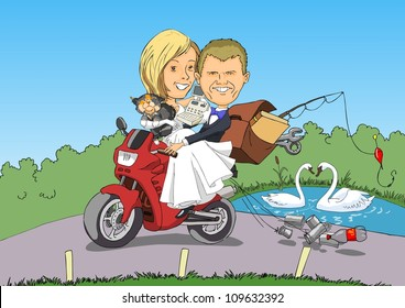 Newlyweds on a motorcycle with the necessities of life goes honeymoon