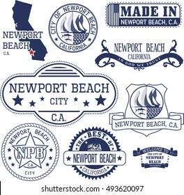 Newport Beach city, California. Set of generic stamps and signs.