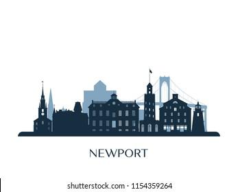 Newport skyline, monochrome silhouette. Vector illustration.