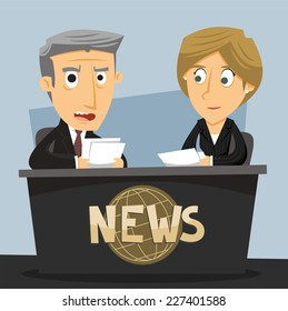 News Anchor Journalist Anchorwoman and Anchorman TV News Broadcast, vector illustration cartoon.