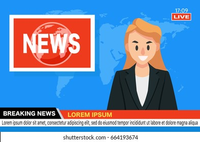 News Anchor on TV Breaking News background. vector illustration in flat design.