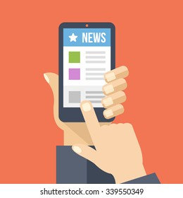News app on smartphone screen. Online digital media. Hand holds smartphone, finger touch screen. Modern concept for web banners, web sites, infographics. Creative flat design vector illustration