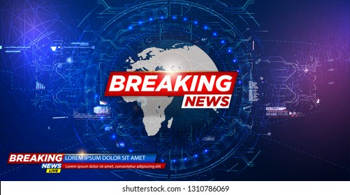 News background, breaking news. Modern futuristic template for news on blue background.Digital data visualization. Business technology concept. Vector