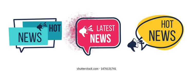 News badges. Daily hot latest and breaking news banners, newspapers and magazines announcement labels. Vector image flat headline promotions with icon megaphone