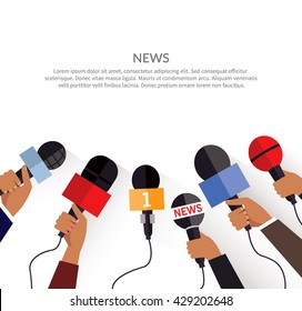 News banner poster template flat. Set of microphone. Media tv and interview, information for television, broadcasting mass and communication, collection microphones in hand. Vector illustration