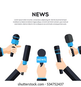 News banner template. Media tv and interview concept with set of microphones. Flat vector illustration in blue color