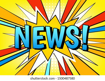 """News banner vector template. Comic style speech dialog bubble with wow explosion effect, rays and text """"News!"""" on blue background."""