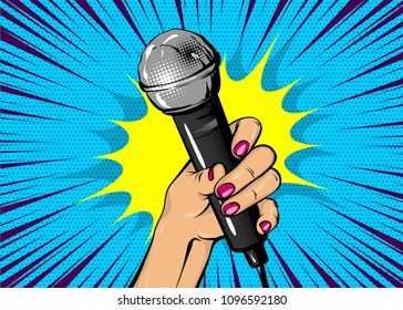 News comic text speech bubble. Woman pop art style fashion. Girl hand hold microphone cartoon vector illustration. Retro poster comimc book performance. Entertainment halftone background.