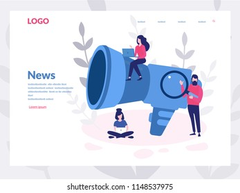 News Concept, information about events for web page, banner, presentation, social media, documents, cards, posters. Vector illustration. Online internet, satellite. News update, online news, newspaper