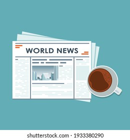 News concept. Newspaper with coffee, glasses and pencil. Coffee time. Flat vector.