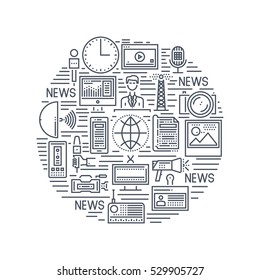 News Concept With Thin Line Pixel Perfect Icons. Anchorman, Newspaper, Tv, Radio, Video Content, Photos, Microphones. Different Color Combinations. Vector Illustration