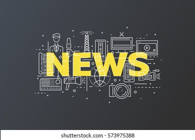 News Concept With Thin Line Pixel Perfect Icons. Anchorman, Newspaper, Tv, Radio, Video Content, Photos, Microphones. Vector Illustration