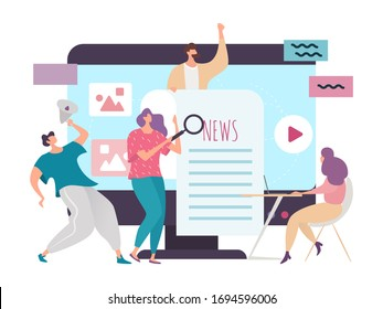 News concept vector illustration. Flat cartoon tiny people, group characters use social network, internet chat, video app service for information announcement. Mass media marketing isolated on white